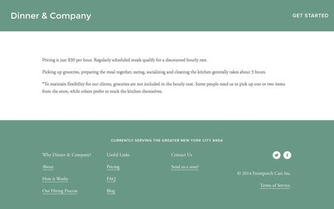 Screenshot of Pricing Page dinnerandco.org - Pricing — Dinner & Company - captured Oct. 5, 2014
