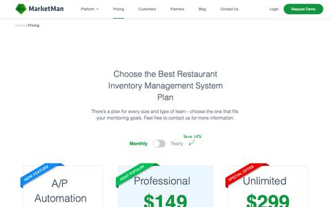 Screenshot of Pricing Page marketman.com - Pricing for Restaurant Inventory Management System | MarketMan - captured Nov. 1, 2018