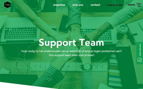 Screenshot of Support Page tig.nl - Support - TIG NL - captured Nov. 4, 2018