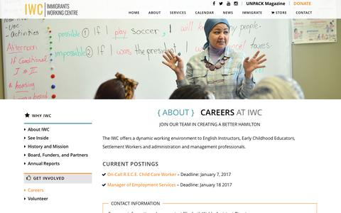 Screenshot of Jobs Page iwchamilton.ca - Immigrants Working Centre     Careers - captured Dec. 26, 2016