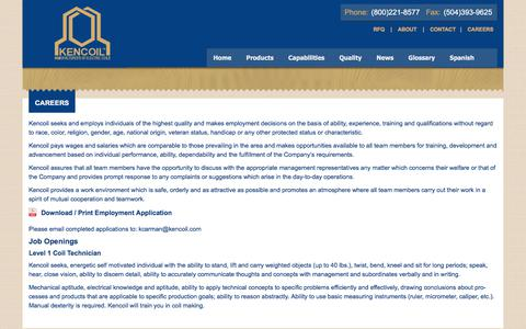 Screenshot of Jobs Page kencoil.com - CAREERS - Kencoil - captured June 9, 2017
