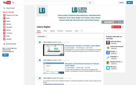Screenshot of YouTube Page youtube.com - Libera Digital  - YouTube - captured Oct. 22, 2014