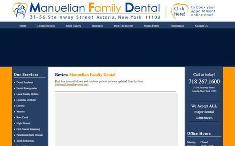Screenshot of Testimonials Page manudent.com - Review MFD, your local Astoria family dentist and dental hygienist - captured Oct. 2, 2018
