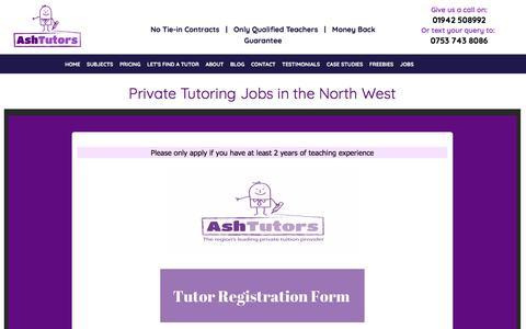 Screenshot of Jobs Page ashtutors.co.uk - Private Tutor Jobs in Wigan, Warrington & St.Helens - captured July 30, 2018