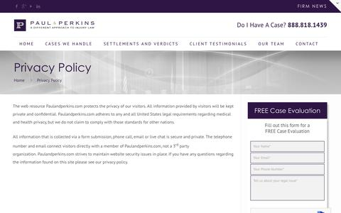 Screenshot of Privacy Page paulandperkins.com - Privacy Policy - Paul & Perkins - captured June 10, 2018