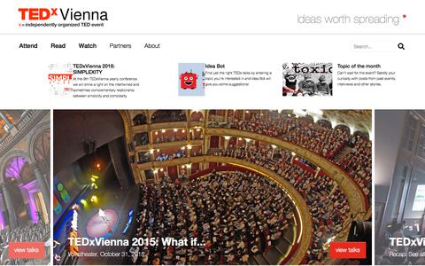 Screenshot of Home Page tedxvienna.at - TEDxVienna: Independently organized TED Event - Official |TEDxVienna - captured Sept. 21, 2018