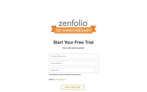 Screenshot of Trial Page zenfolio.com - Start Your Free Trial - Zenfolio - captured March 29, 2016