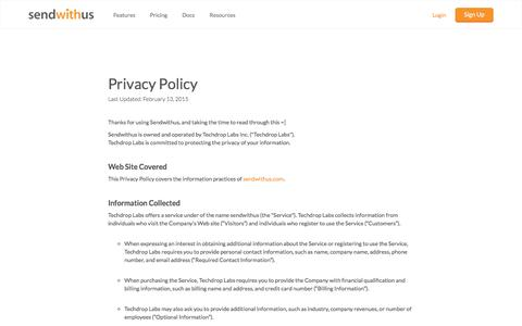 Privacy Policy · sendwithus