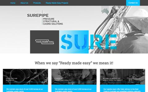 Screenshot of Home Page surepipe.com.au - Surepipe   Pressure Structural and Casing Solutions - captured Nov. 21, 2017