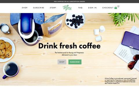 Screenshot of Home Page hilinecoffee.com - Fresh Alternative to Nespresso Capsules and K-Cups - HiLine Coffee Company - captured Nov. 17, 2015