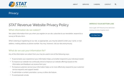 Screenshot of Privacy Page statrev.com - Privacy - STAT Revenue - captured Sept. 30, 2017