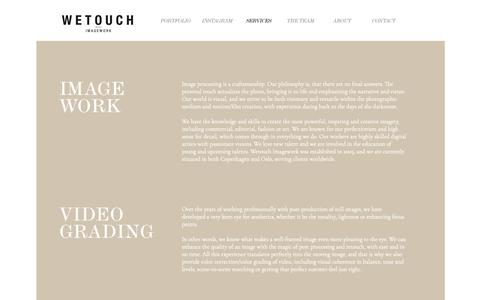 Screenshot of Services Page wetouch.dk - Wetouch Imagework – Services - captured Nov. 9, 2018