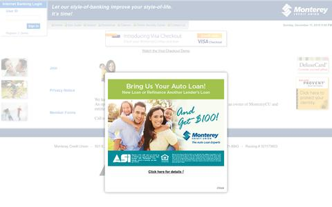 Screenshot of Signup Page montereycu.com - Monterey Credit Union | Join! - captured Dec. 12, 2016