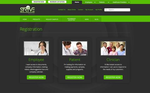 Screenshot of Signup Page strivemedical.com - Select Profile :: Strive Medical Wound Care & Urologicals - captured Feb. 25, 2016