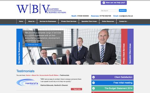 Screenshot of Testimonials Page wbv.ltd.uk - Testimonials | Chartered Accountants and Business Advisers in Swansea and Neath - WBV - captured Oct. 26, 2014