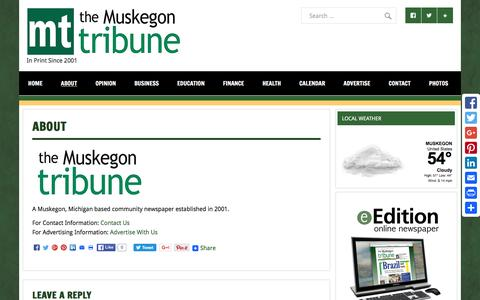 Screenshot of About Page muskegontribune.com - About - Muskegon Tribune - captured May 3, 2016