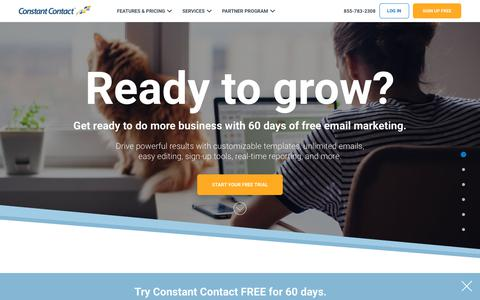 Screenshot of Trial Page constantcontact.com - Free Email Marketing Trial - 60 Days | Constant Contact - captured May 5, 2019