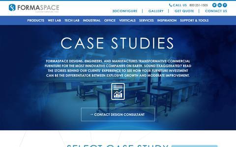 Screenshot of Case Studies Page formaspace.com - Custom Furniture Case Studies - Client Satisfaction | Formaspace - captured Nov. 14, 2018