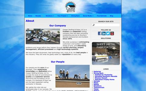 Screenshot of About Page coopersolar.com - About « Cooper Roofing & Solar - captured Jan. 31, 2016