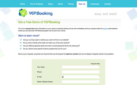 Screenshot of Signup Page Trial Page yepbooking.com.au - Sign Up | Booking System YEP!Booking – Online Booking and Reservation System - captured Oct. 25, 2014