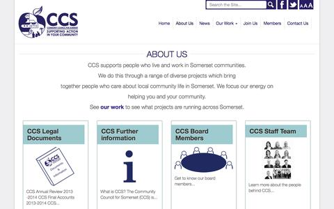 Screenshot of About Page somersetrcc.org.uk - About Us - The Community Council for Somerset - captured Oct. 8, 2014