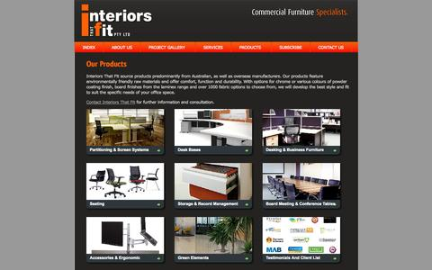 Screenshot of Products Page interiorsthatfit.com.au - Products | Office Furniture Melbourne, Online Office Furniture, Workstations - captured Sept. 30, 2014