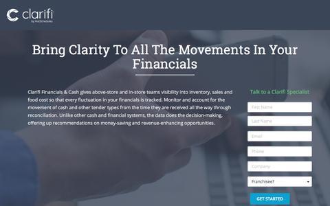 Screenshot of Landing Page hotschedules.com - Clarifi Cash Financials Demo - captured March 8, 2018