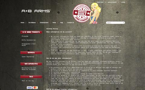 Screenshot of Privacy Page abarms.com - Terms: Privacy - captured Oct. 4, 2014