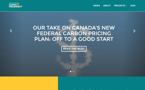 Screenshot of Home Page cleanprosperity.ca - Canadians for Clean Prosperity - captured Oct. 21, 2016