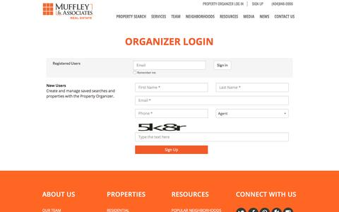Screenshot of Signup Page muffleyhomes.com - Organizer Login – Muffley & Associates Real Estate - captured Nov. 30, 2016
