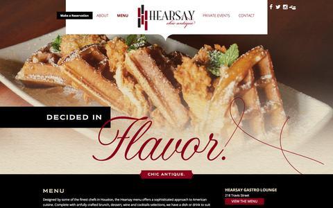 Screenshot of Menu Page hearsayhouston.com - Menu | Hearsay Houston - captured Jan. 25, 2016