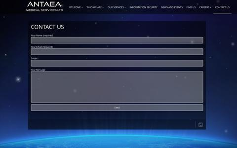 Screenshot of Contact Page antaea.com - Contact us - ANTAEA | ANTAEA CONTRACT RESEARCH ORGANIZATION - captured Feb. 5, 2016