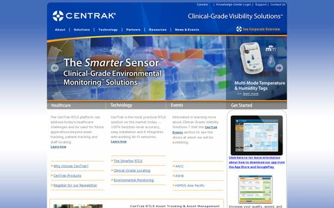 Screenshot of Home Page centrak.com - Real-Time Location System | Workflow Solutions | Patient Tracking Systems - captured July 11, 2014