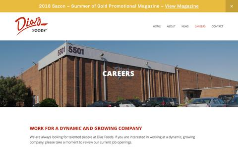 Screenshot of Jobs Page diazfoods.com - Careers — Diaz Foods - captured Aug. 7, 2018