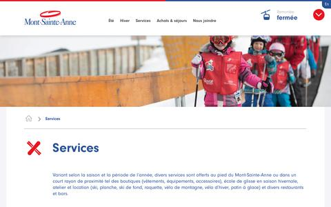 Screenshot of Services Page mont-sainte-anne.com - Services au Mont-Sainte-Anne: école, location, groupe et restauration - captured May 20, 2018
