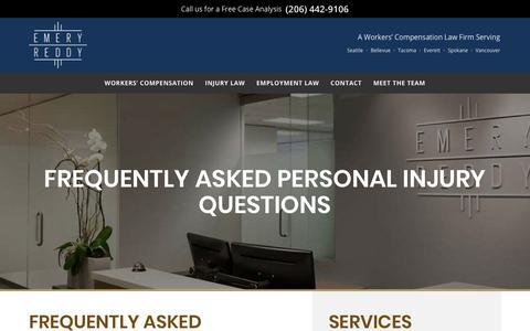 Screenshot of FAQ Page emeryreddy.com - Personal Injury Frequently Asked Questions (FAQ) | Emery Reddy - captured July 18, 2018