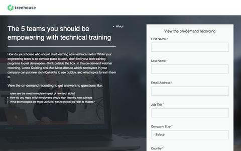 Screenshot of Landing Page teamtreehouse.com - Webinar 1: 5 Departments in Need of Tech Training | Treehouse - captured May 28, 2018