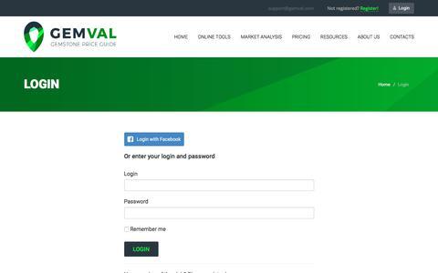 Screenshot of Login Page gemval.com - Gemval. Login - captured Sept. 23, 2018
