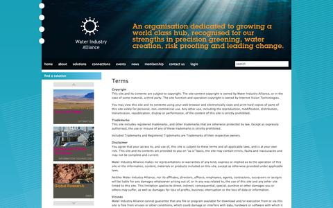 Screenshot of Terms Page waterindustry.com.au - Terms - Water Industry Alliance - captured Oct. 7, 2014