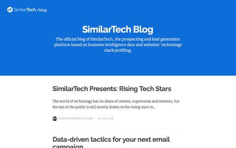Screenshot of Blog similartech.com - SimilarTech Blog - captured June 27, 2018