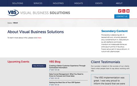 Screenshot of About Page visualbusiness.net - Company | Visual Business Solutions - captured Oct. 21, 2017