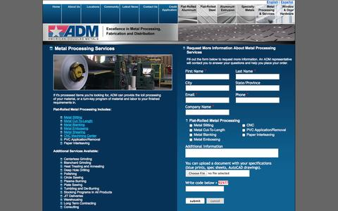 Screenshot of Landing Page americandouglasmetals.com - Metal Processing Services | American Douglas Metals - captured Oct. 27, 2014