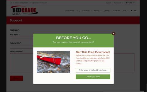 Screenshot of Support Page redcanoemedia.com - Support - Red Canoe Media - captured Nov. 7, 2018