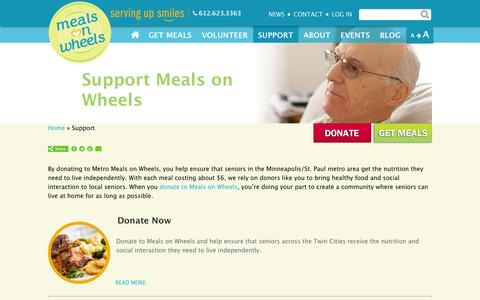 Screenshot of Support Page meals-on-wheels.com - Support Meals on Wheels | Metro Meals on Wheels - captured Oct. 27, 2014