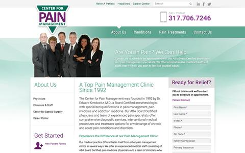 Screenshot of About Page indypain.com - Indianapolis Pain Management Clinic | Indy Pain Clinic - captured Jan. 26, 2016