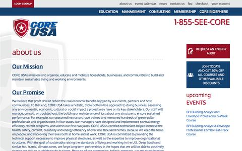 Screenshot of About Page coreusa.org - About Us - Core USA - captured Sept. 26, 2014
