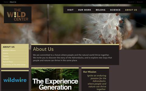 Screenshot of About Page wildcenter.org - About Us | Wild Center - captured Oct. 18, 2018