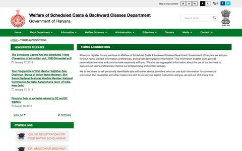 Screenshot of Terms Page scbchry.gov.in - Terms & Conditions | Welfare of Scheduled Caste & Backward Classes Department, Government of Haryana - captured Feb. 26, 2018