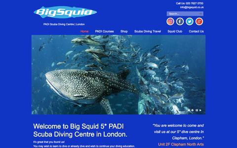 Screenshot of Home Page bigsquid.co.uk - Big Squid – PADI Scuba Diving Centre | London - captured Aug. 4, 2018