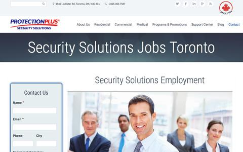 Screenshot of Jobs Page protectionplus.ca - Security System Jobs Toronto | Protection Plus - captured July 14, 2018